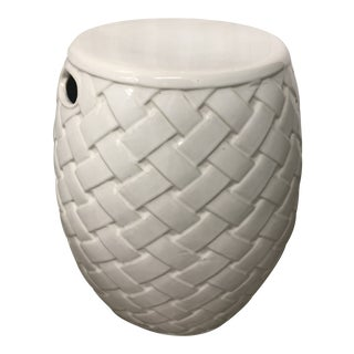 1970s Italian Porcelain Latticcino Design Stool For Sale