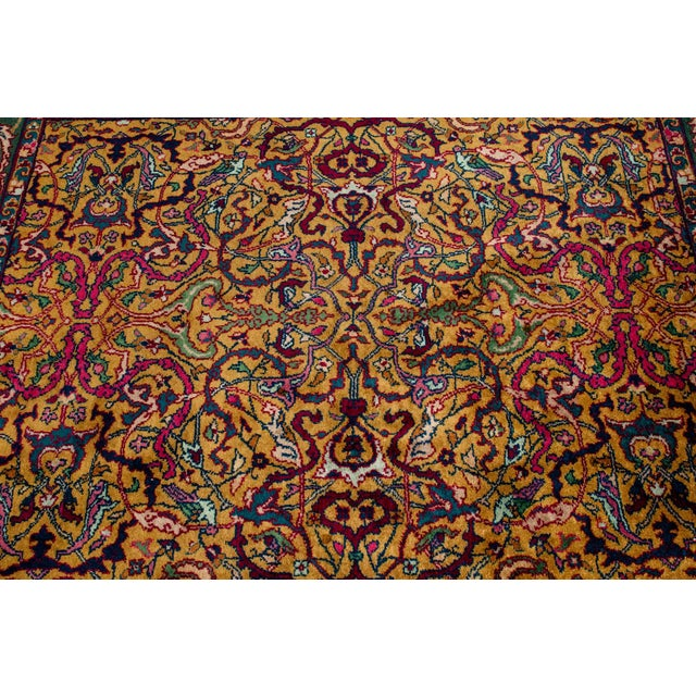Pure silk hand knotted Persian area rug. The area rug is in great vintage condition and very clean. The rug measure about...