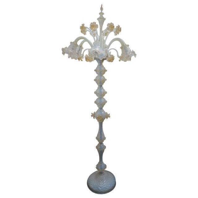 Murano Opaline Glass Floor Lamp For Sale - Image 10 of 10