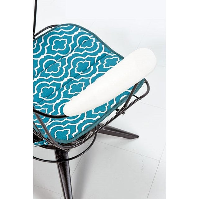 Mid-Century Modern Homecrest Mid-Century Modern Outdoor Chairs Aqua and Black For Sale - Image 3 of 6