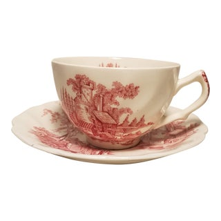1950s Johnson Bros Old Mill Red Transferware Tea Cup and Saucer For Sale