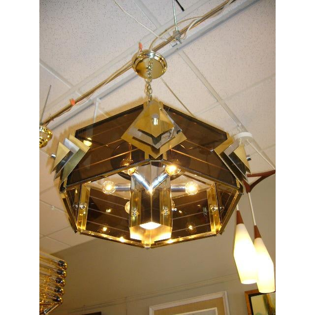 Chromalite Amazing Modernist Cityscape Style Mixed Metal & Lucite Chandelier For Sale - Image 4 of 10
