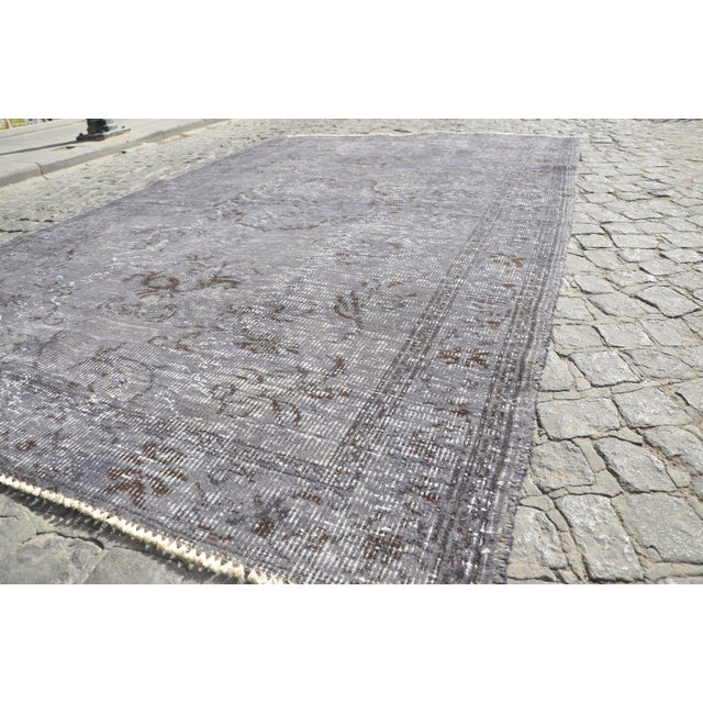 Vintage Overdyed Gray Rug - 5′1″ × 7′7″ For Sale - Image 5 of 6