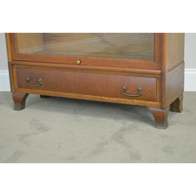 Antique Oak 5 Section Stacking Barrister Bookcase With Drawer by Weis For Sale - Image 10 of 13