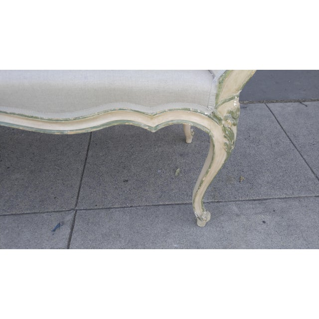 French Bench With Arms in a Hand Painted Antiqued Finish For Sale - Image 4 of 10