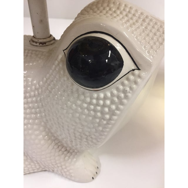 Vintage Italian White Ceramic Hobnail Frog Lamp With Shades - a Pair For Sale - Image 4 of 13