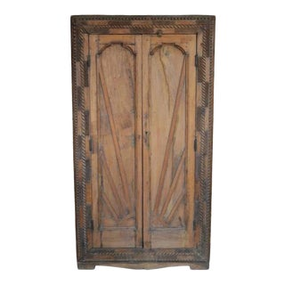 1930s Indian Cabinet With Geometrical Hand Carved Doors For Sale