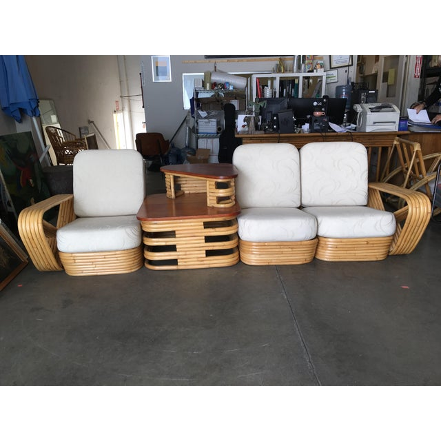 Restored Six-Strand Square Pretzel Sectional Rattan Corner Sofa W/ Side Table For Sale In Los Angeles - Image 6 of 8