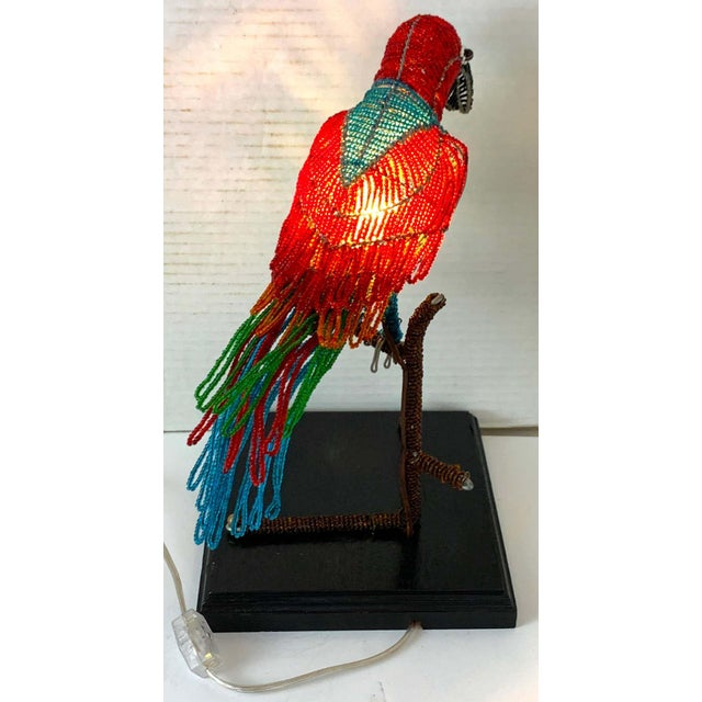 Colorful Art Deco Czechoslovakian Glass Beaded Parrot Lamp For Sale In West Palm - Image 6 of 10