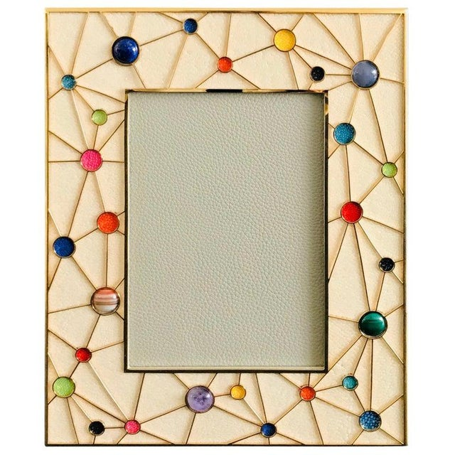 Shagreen With Multi-Color Stones Photo Frame by Fabio Ltd For Sale - Image 9 of 9