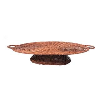 Wicker Pedestal Tray For Sale