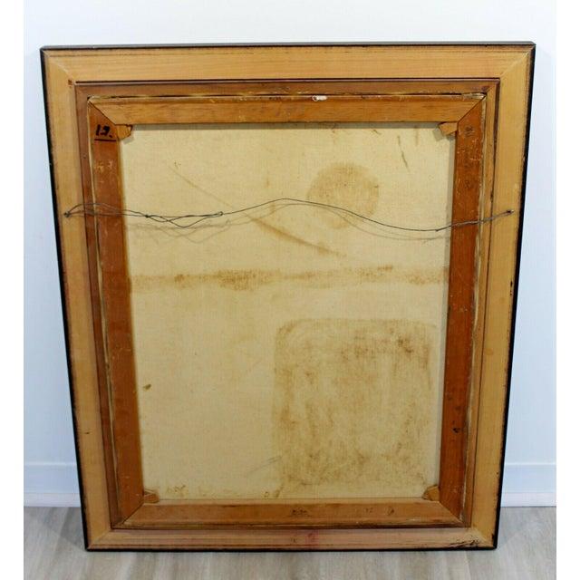 Orange Mid Century Modern Framed Oil Pallet Knife Canvas Painting Signed Bochraz For Sale - Image 8 of 9