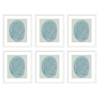 "Large ""Medusa Blue Coin, Set of 6"" Print by Michelle Farro, 51"" X 38"" For Sale"