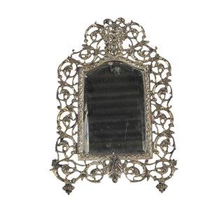 Italian Bacchus Masked Silvered Bronze Frame For Sale