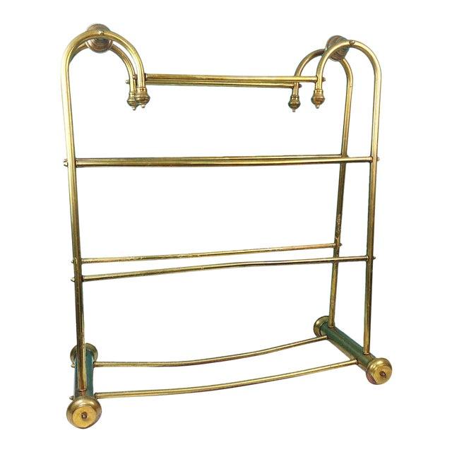 Hollywood Regency Brass Towel Quilt Floor Stand Rack - Image 1 of 6