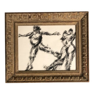 Vintage Original Ink Drawing Nude Study Carved Frame For Sale