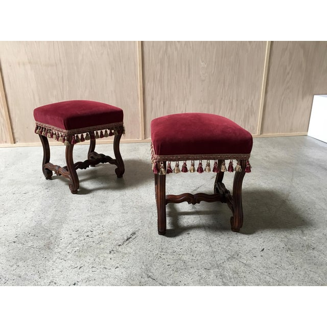 Maroon 19th Century French Walnut Stools - a Pair For Sale - Image 8 of 9