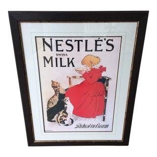 "Vintage Framed Steinlen ""Nestle's Swiss Milk"" Advertising Print Poster - Printed in London For Sale"