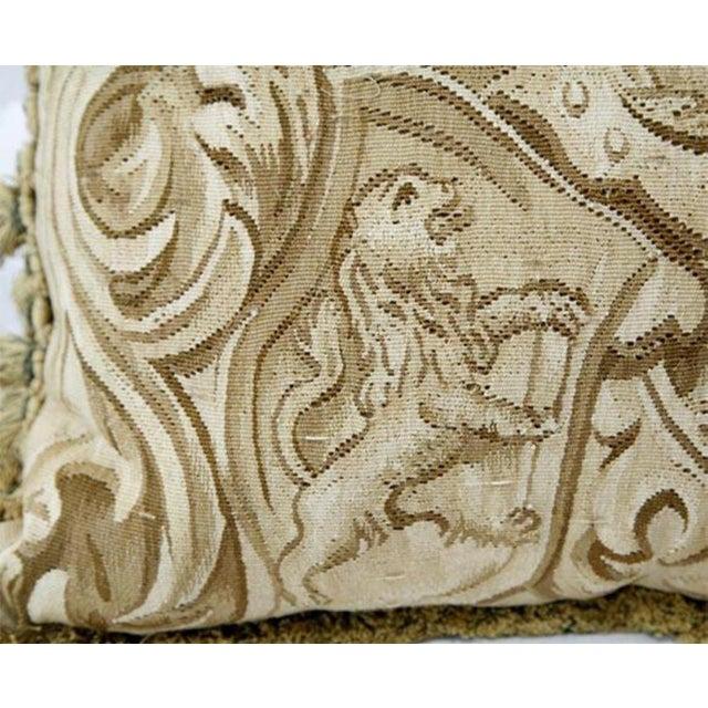 Amorial with Lions Aubusson Pillow - A Pair For Sale - Image 4 of 6