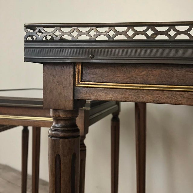 Set of Antique Directoire Marble Top Nesting Tables For Sale - Image 10 of 13