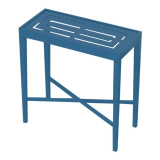 Oomph On the Rocks Rectangle Outdoor Side Table, Blue For Sale