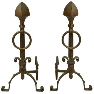 Pair of Arts & Crafts Aesthetic Movement Large Bronze Iron Andirons With Rings