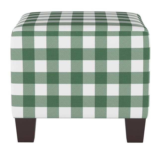 Not Yet Made - Made To Order Square Ottoman in Classic Gingham Evergreen Oga For Sale - Image 5 of 5
