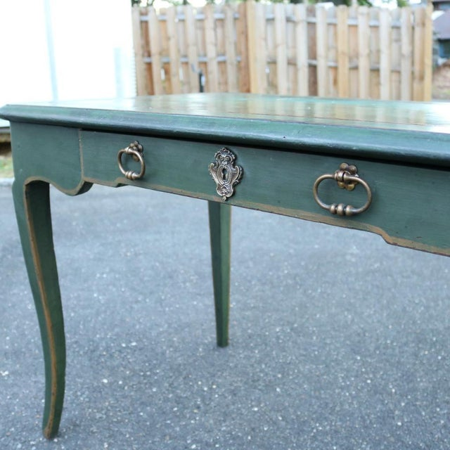 Green Antique French Provincial Leather Top Desk - Image 5 of 11