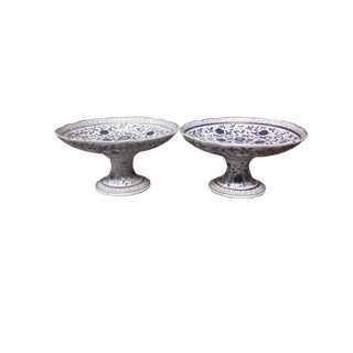 Antique Pair Porcelain Compotes Pair Hand Painted European Cake Stands Pair Fine China Compotes For Sale