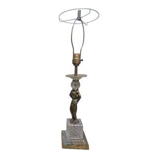 Vintage Art Deco Brass & Crystal Lamp For Sale
