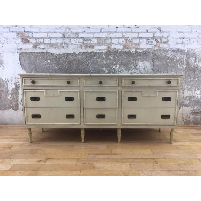 20th Century Hollywood Regency Ficks Reed 9-Drawer Faux Bamboo Dresser For Sale In Raleigh - Image 6 of 6