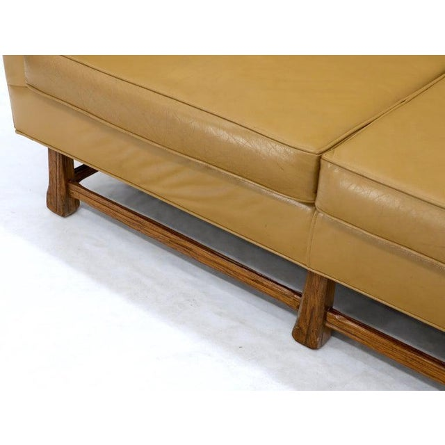 Mid-Century Modern Tan Leather Oak Frame Sofa by Ranch Oak For Sale - Image 12 of 13