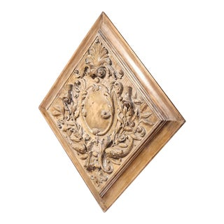 19th Century Stripped and Bleached Carved Square Panel from France For Sale