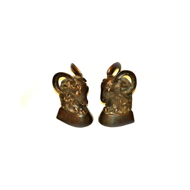 Vintage Bronze Ram Bookends - A Pair - Image 9 of 11