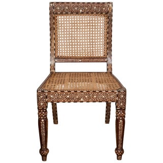 Armless Bone Inlaid Chair From India, Late 20th Century For Sale