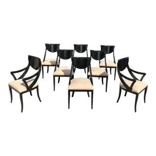 "1940s Vintage French Art Deco ""Gondola"" Dining Chairs- Set of 8 For Sale"
