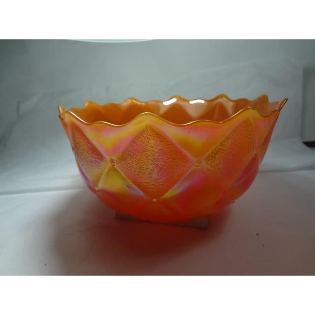 Mid 20th Century Marigold Color Carnival Iridescent Glass Bowl For Sale - Image 4 of 13