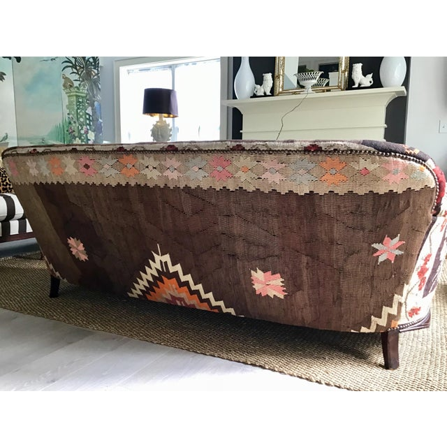 Fabric Antique French Serpentine Sofa Upholstered in Antique Karabagh Peacock Kilms For Sale - Image 7 of 13
