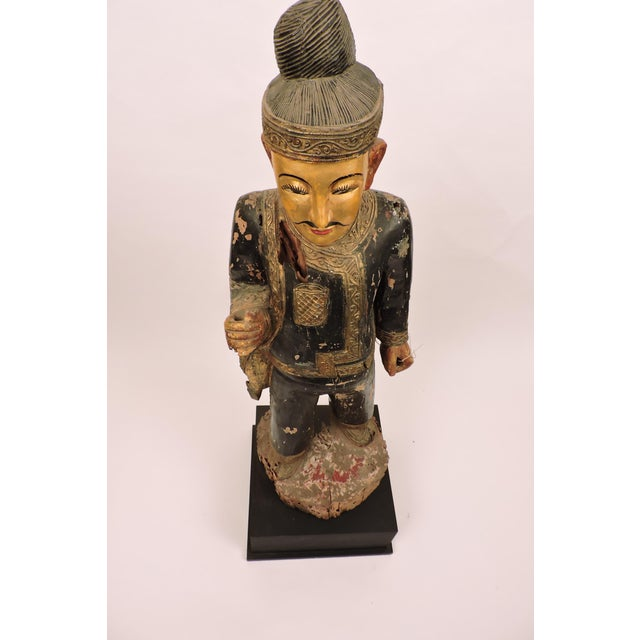 Asian Burmese Male Nat Figure In Black and Gold For Sale - Image 3 of 6