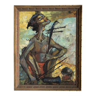 1960ies Oil on Canvas - Musician For Sale
