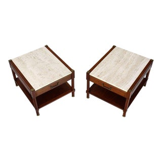 Pair of Travertine Tops One Drawer Oiled Walnut End Side Tables For Sale