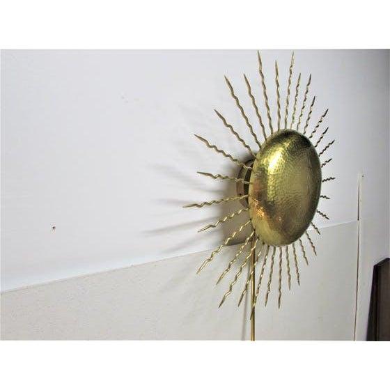 Vintage Hammered Brass Sunburst Sconce - Image 2 of 5