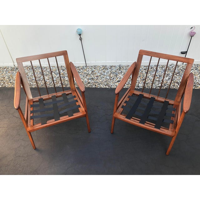 Mid Century Danish Modern Lounge Chairs- a Pair For Sale - Image 10 of 13