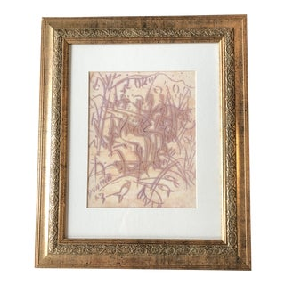 """Original Outsider Artist Peter Duncan Abstract Painting """"The Stream"""" Framed For Sale"""