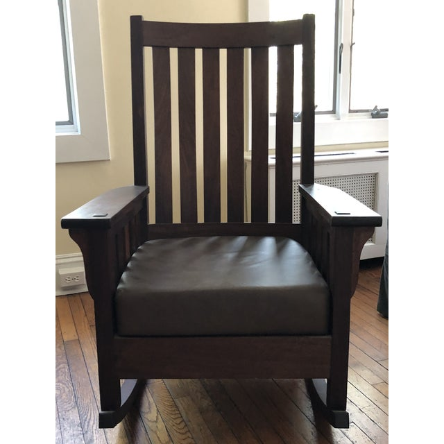 Handmade Mission Style Rocking Chair For Sale In New York - Image 6 of 6
