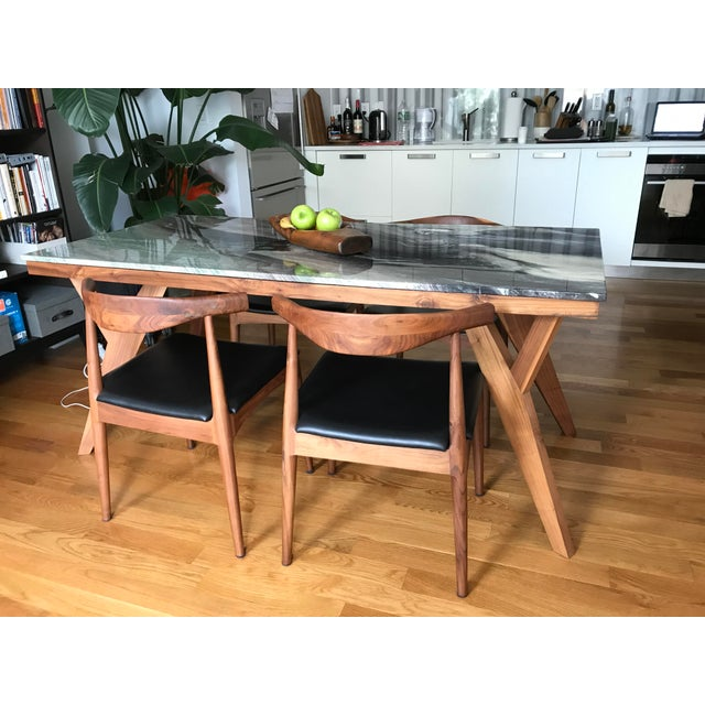 Mid-Century American Marble Top Walnut Table - Image 6 of 7