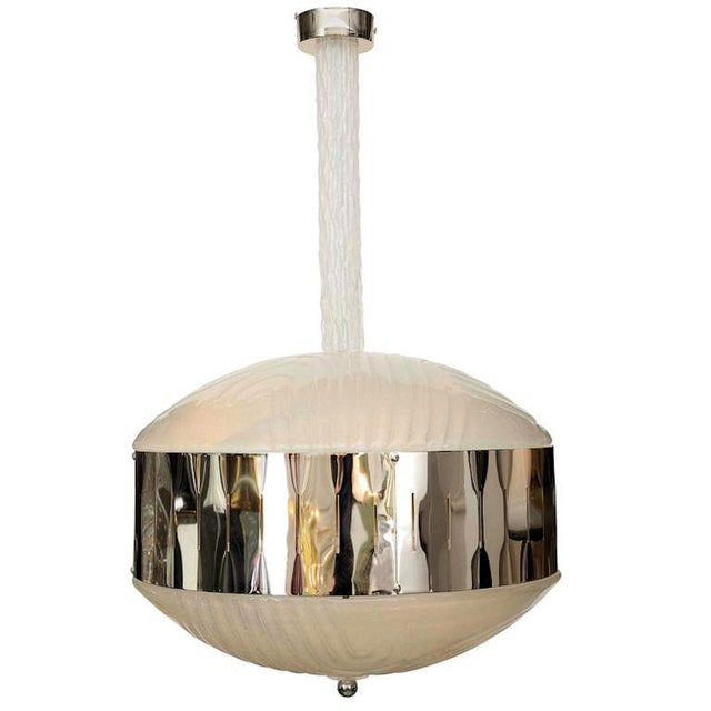 1980s Mid-Century Modern Murano Glass Chandelier With Chrome, Attr to Mazzega For Sale - Image 5 of 5