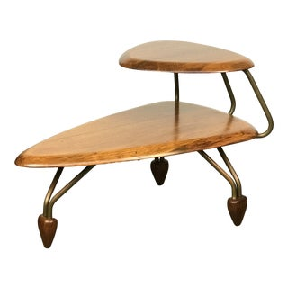 Scarce Sculptural 1950's Side Step Table in Walnut and Brass After John Keal For Sale