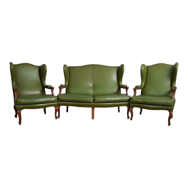 Vintage Mid 20th. C. Queen Anne Style Wing Sofa and 2 Wing Armchairs Suite For Sale