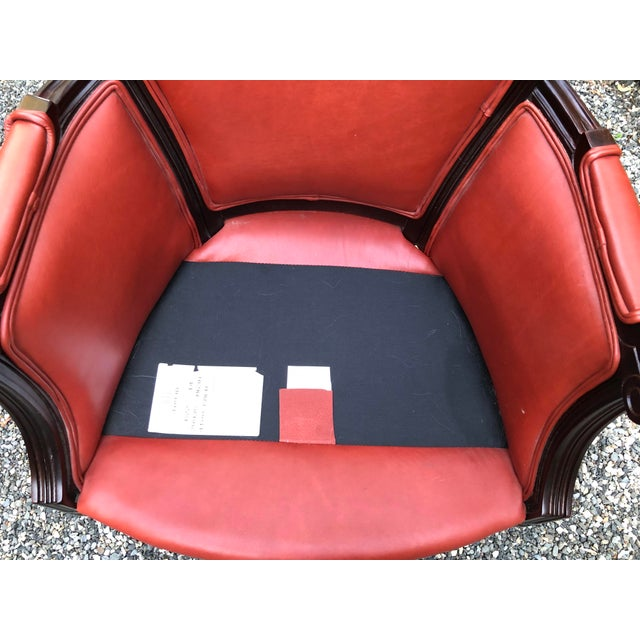 Traditional Persimmon Leather Armchair For Sale - Image 9 of 11